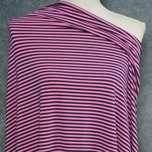 Bamboo Cotton Spandex Mini Stripes, Bubble Gum/Navy – 1/2 meter