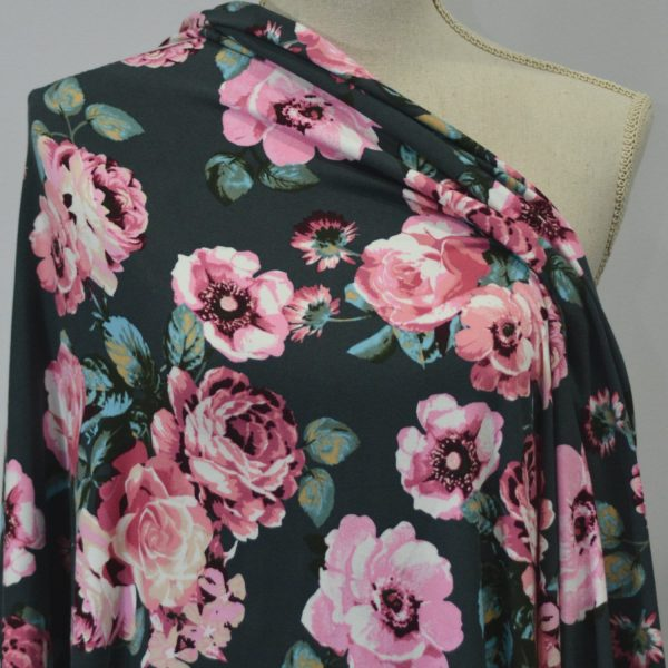 Kimberely, Double Brushed Polyester, PINK on CHARCOAL 1/2 meter