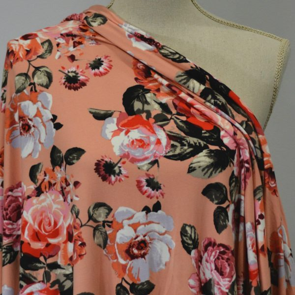 Kimberely, Double Brushed Polyester, PINK/CORAL on Peach - 1/2 meter
