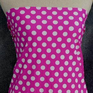 Nylon Spandex Swim Knit, DOTS on Fuchsia - 1/2 meter