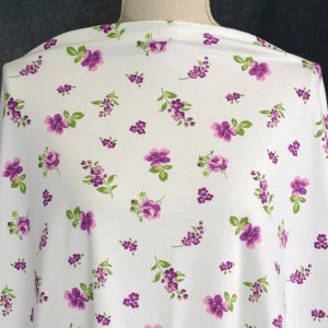 Cotton Spandex, Purple Flowers on White - 1/2 meter
