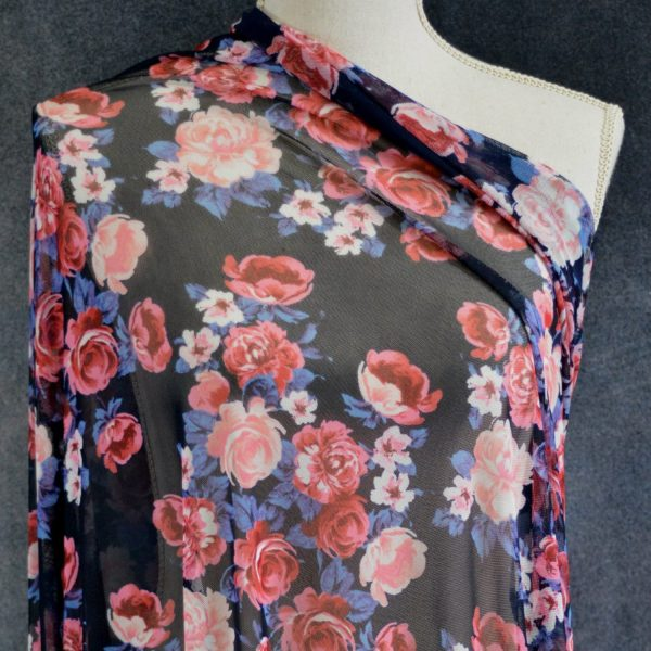 Stretch Mesh, Maryport Peony Bouquet on Navy - 1/2 meter