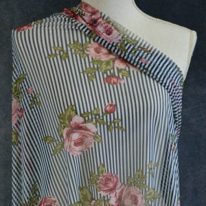 Stretch Mesh, Madeley Pink Floral on Navy Stripes - 1/2 meter