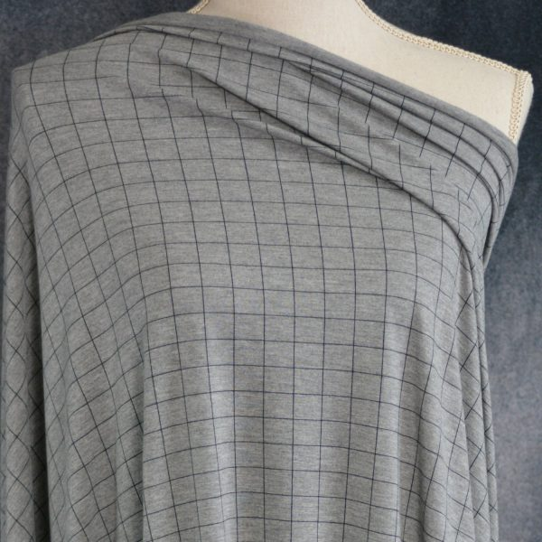 Bamboo Rayon Spandex, Squares on Heather Grey - 1/2 meter
