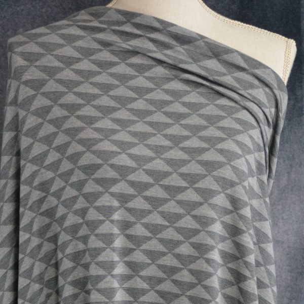 Bamboo Rayon Spandex, Triangles on Heather Grey - 1/2 meter