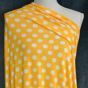 Rayon Spandex, White LARGE Dots on Bright Mustard - 1/2 meter