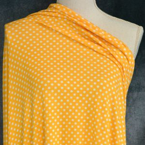Rayon Spandex, White MEDIUM Dots on Bright Mustard - 1/2 meter