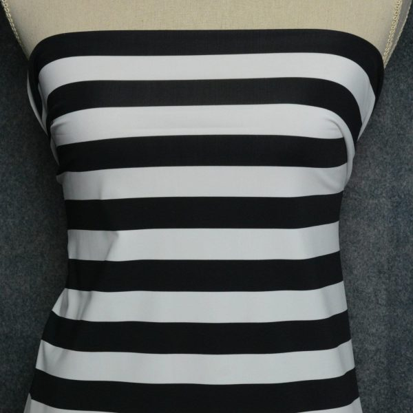 "Nylon Spandex Swim Knit, 1"" Black and White Stripe - 1/2 meter"