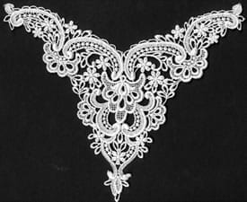 "Venice Lace Yoke Applique, 10""x8"" White"