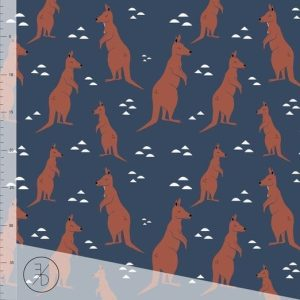 Euro Cotton Spandex, Kangaroo, Dark Blue - 1/2 meter