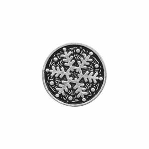 "Shank Button, 18 mm (0.70"") Antique Silver Snowflake 95251Y - 3 count pkg"
