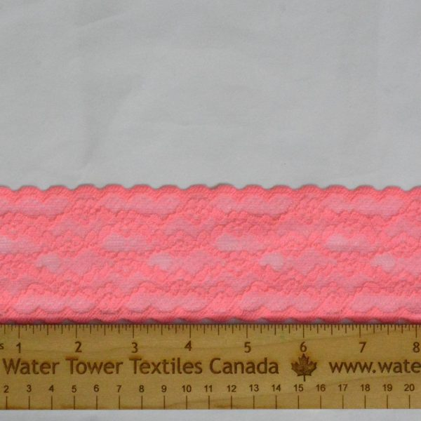 "Stretch Lace Trim, 2.5"" Bright Coral - 1 Meter"