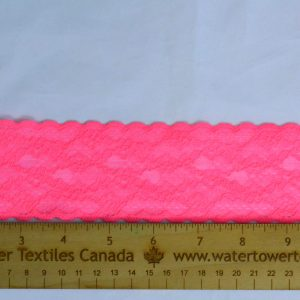 "Stretch Lace Trim, 2.25"" Neon Pink - 1 Meter"