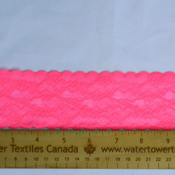 """Stretch Lace Trim, 2.25"""" Neon Pink - 1 Meter"""