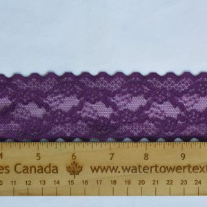 "Stretch Lace Trim, 1.75"" Plum - 1 Meter"