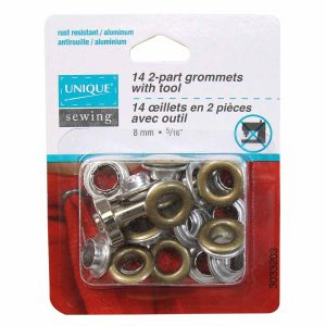 Grommets 8mm with Tool, Antique Gold - Pkg of 14