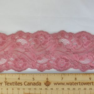 "Stretch Lace Trim, 3"" Dusty Rose - 1 meter"