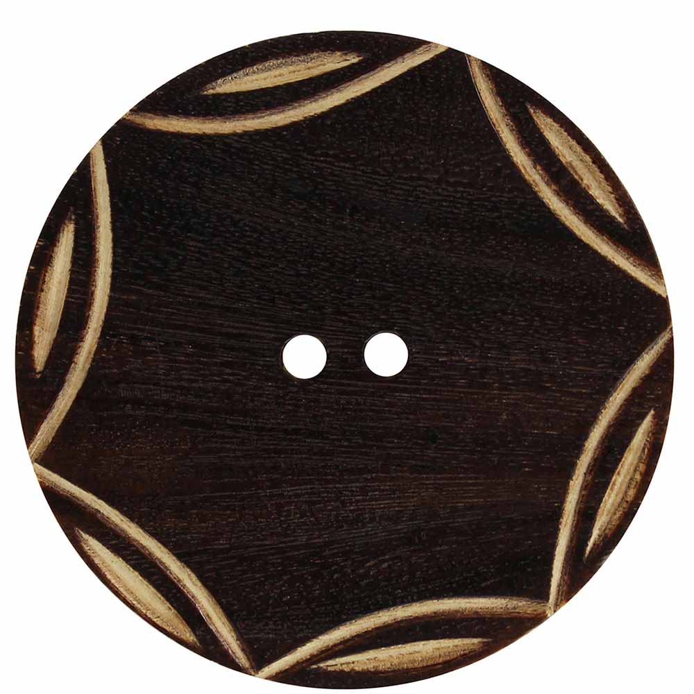 "2-Hole Button, 50 mm (2"") Dark Wood - 1 count pkg"