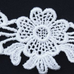 "Venice Lace Yoke Applique, 5""x2.25"" White"