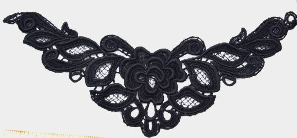 "Venice Lace Yoke Applique, 9""x5"" Black"