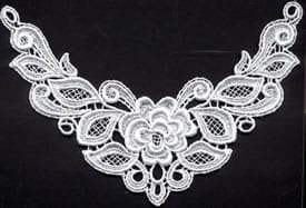 "Venice Lace Yoke Applique, 9""x5"" White"