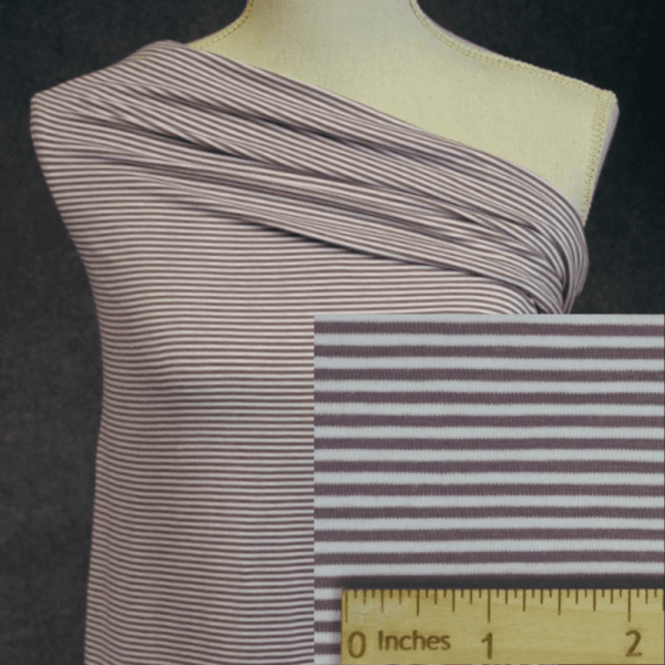 Bamboo Organic Cotton Jersey 2mm Stripes, ANTIQUE ROSE/White - 1/2 meter