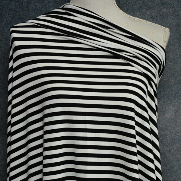 "Bamboo Cotton Jersey 3/8"" Stripes, Black/Natural - 1/2 meter"