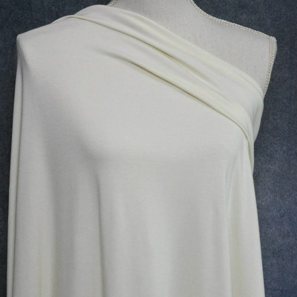 Bamboo Cotton Jersey, Ivory - 1/2 meter