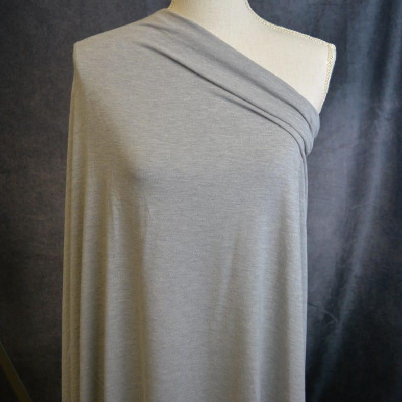 Bamboo Cotton Jersey, Mid Heather Grey - 1/2 meter