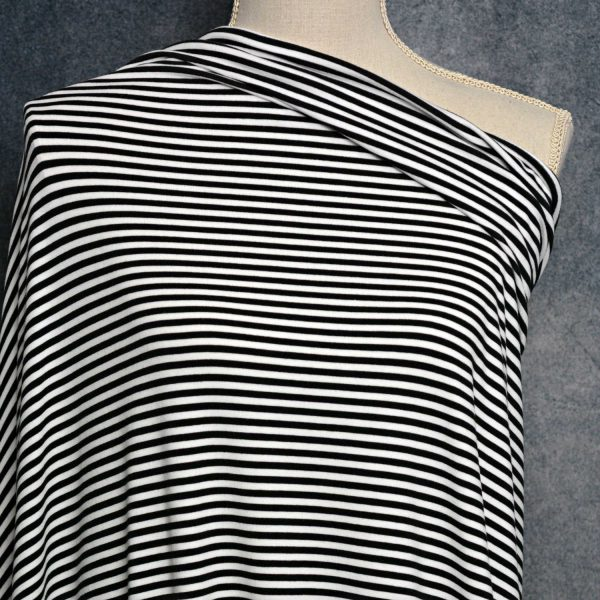 Bamboo Cotton Jersey 4mm Stripes, BLACK/White - 1/2 meter