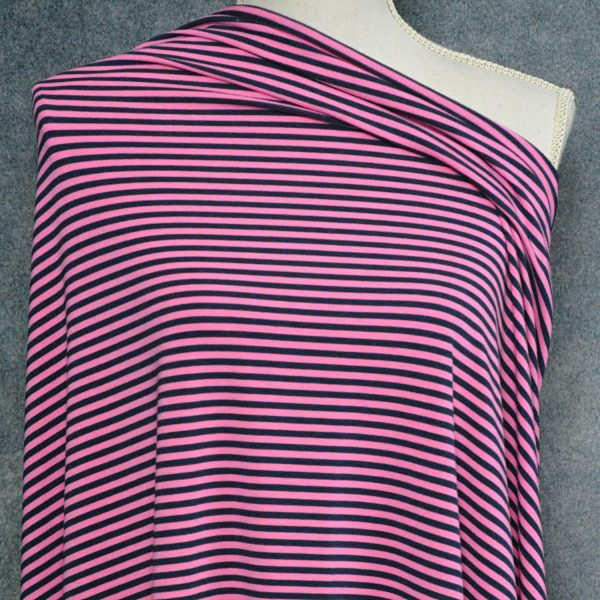 Bamboo Cotton Jersey 4mm Stripes, Bubble Gum/Navy - 1/2 meter