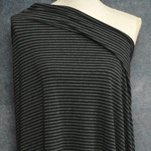Bamboo Cotton Jersey 4mm Stripes, Charcoal/Black - 1/2 meter