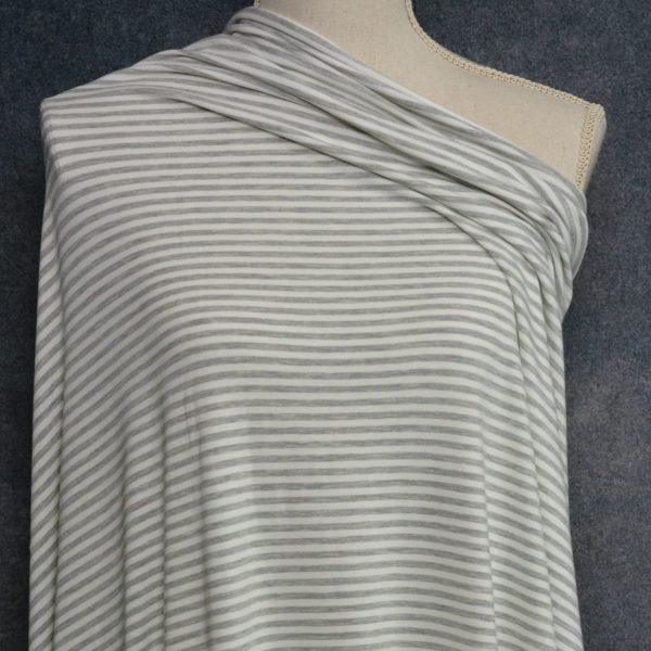 Bamboo Cotton Jersey 4mm Stripes, Light Grey Mix/Ivory - 1/2 meter