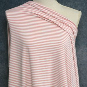 Bamboo Cotton Jersey 4mm Stripes, Mellow Rose/White - 1/2 meter