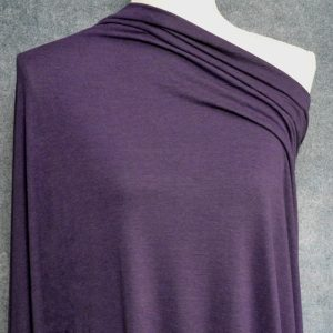 Bamboo Cotton Jersey, Dark Plum - 1/2 meter