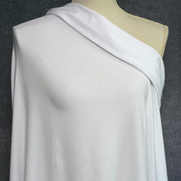 Bamboo Cotton Jersey, White - 1/2 meter