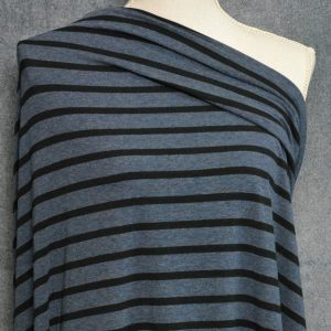 Bamboo Cotton Jersey Medium Stripes, Black on Heather Lake - 1/2 meter