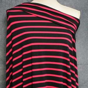 Bamboo Cotton Jersey Medium Stripes, Jazzy Pink on Black - 1/2 meter