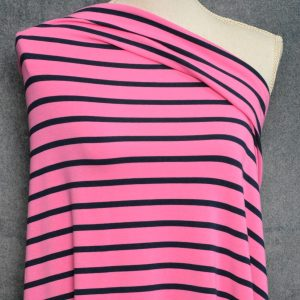 Bamboo Cotton Jersey Medium Stripes, Navy on Bubble Gum - 1/2 meter