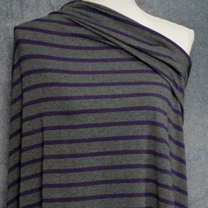 Bamboo Cotton Jersey Medium Stripes, Dark Plum on Charcoal Mix - 1/2 meter