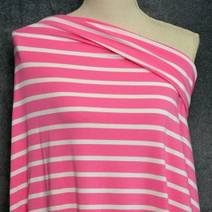 Bamboo Cotton Jersey Medium Stripes, White on Bubble Gum - 1/2 meter