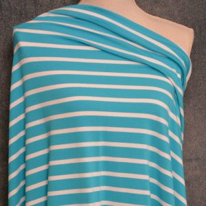 Bamboo Cotton Jersey Medium Stripes, White on Scuba Blue - 1/2 meter