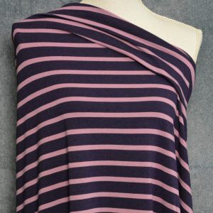 Bamboo Cotton Jersey Medium Stripes, Wisteria on Dark Plum - 1/2 meter
