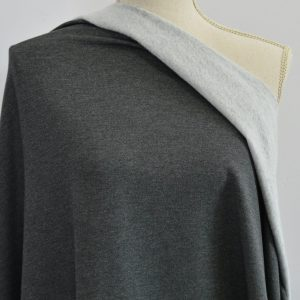 Bamboo MERINO Sweatshirt Fleece, Charcoal Mix - 1/2 meter