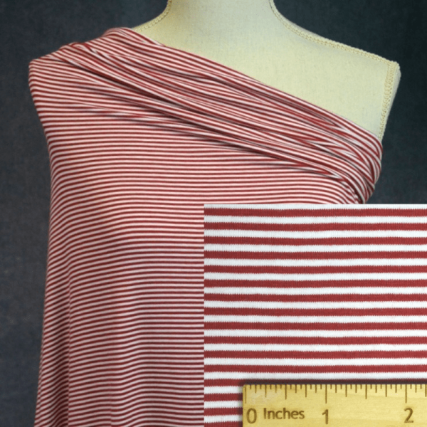 Bamboo Organic Cotton Jersey 2mm Stripes, CHILI RED/White - 1/2 meter
