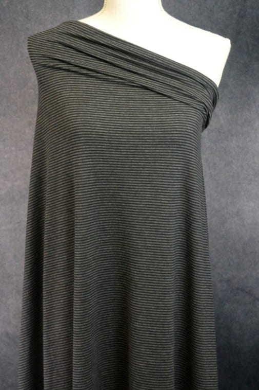 Bamboo Organic Cotton Jersey 2mm Stripes, Charcoal Mix/Black - 1/2 meter