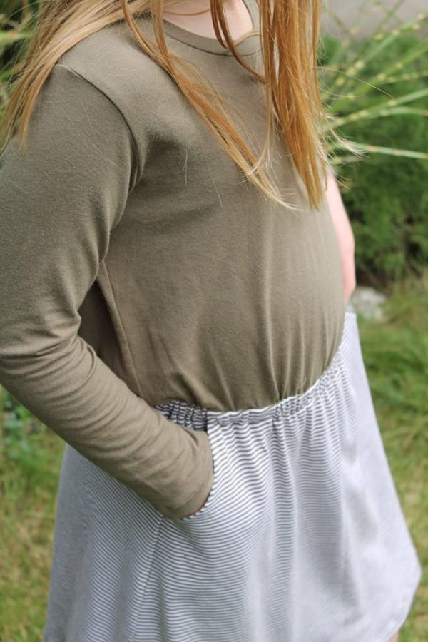 Bamboo Organic Cotton Jersey 2mm Stripes, OLIVE/White - 1/2 meter