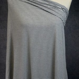 Bamboo Organic Cotton Jersey 2mm Stripes, STEEL/White - 1/2 meter