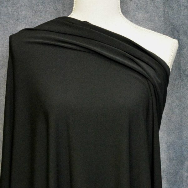 Double Brushed Poly Spandex 280 GSM, BLACK - 1/2 meter