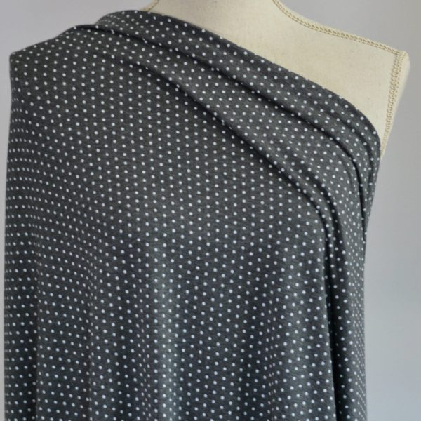 Nouvel Bamboo Rayon Spandex, Mini Dots on Charcoal - 1/2 meter
